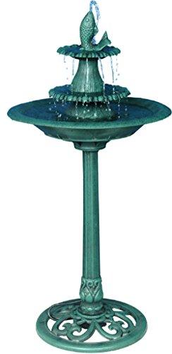 Alpine Corporation 3-Tiered Pedestal Water Fountain and Bird Bath with Fish Design - Ceramic Vintage Decor for Garden, Patio, Deck, Porch - Green