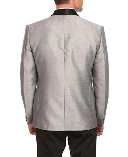 Un Bouton Hommes Wintage Partie Col Châle Blazer Noir Manteau- Trois Couleurs, Argent