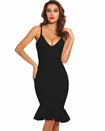 Maketina Women's Mermaid Spaghetti Strap V Neck Bodycon Midi Cocktail Bandage Dress Black XL
