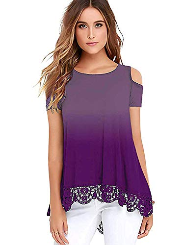 - iRealy Women Short Sleeve Tunic Tops Cold Shoulder Lace Hem Dress Shirts Casual Loose Fit Cross V Neck Dressy Blouse Gradient Purple