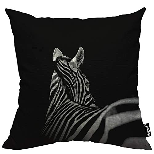 (Mugod Zebra Decorative Throw Pillow Cover Case African Animal Look Back Beautiful Stripes Black and White Cotton Linen Pillow Cases Square Standard Cushion Covers for Couch Sofa Bed 18x18 Inch)