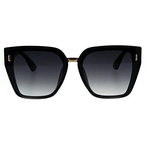 (Womens Squared Angular Rectangular Butterfly Cat Eye Plastic Sunglasses Black Smoke)
