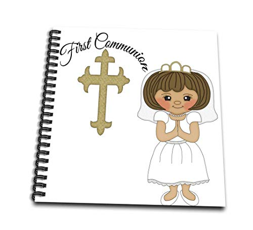 3dRose First Communion Cross with Little Girl Illustration-Mini Notepad, 4 by 4-inch (db_222497_3)