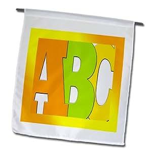 3dRose fl _ 179483_ 1imagen de gigante ABC enmarcado en naranja jardín bandera, 12por 45,72cm