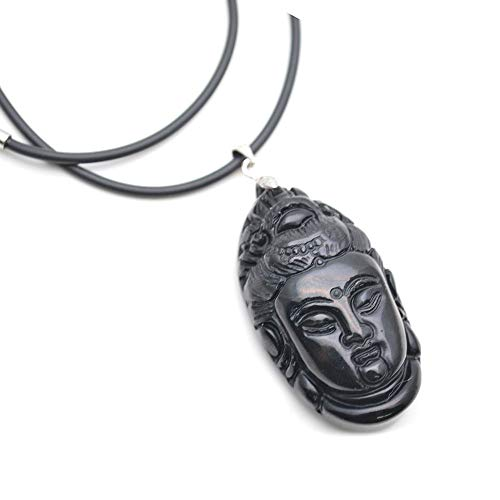 - Buty-Bzi Natural Black Obsidian Carved Kuanyin Buddha Head Stone Pendant Necklace Jewelry