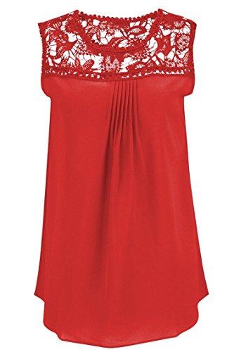 Manzocha Women's Lace Chiffon T Shirt Stitching Blouse Hollow Out Tops – Medium, Red