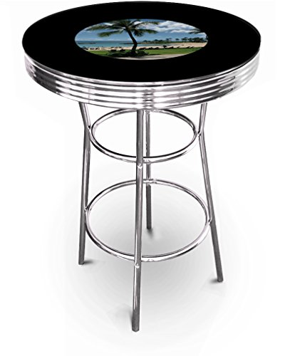 New Hawaii Beaching Themed 42'' Tall Chrome Metal Bar Table with Black Table Top by The Furniture Cove