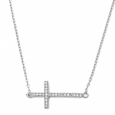 Cubic zirconia side cross necklace