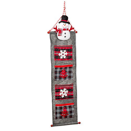 (Seasons Designs Snowman and Embroidered Snowflake Red Plaid on Grey 40 x 12 Felt Four Pocket Christmas Wall Hanger)