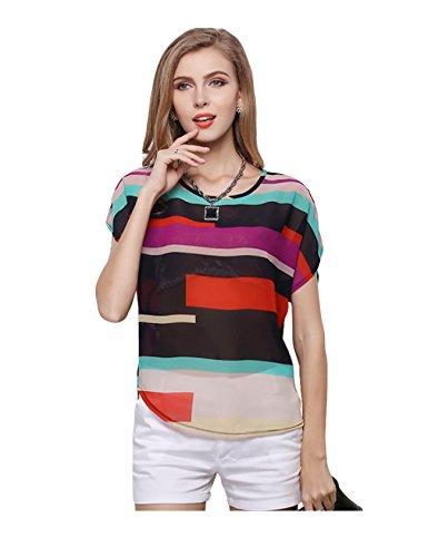 デッドベールエンドウnewrong バットシャツ シフォン 半袖 クルーネック 彩色条紋 不規則裾 ルーズフィット レディース
