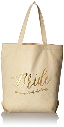 (Kate Aspen Gold Foil Bride Canvas Tote Bag)
