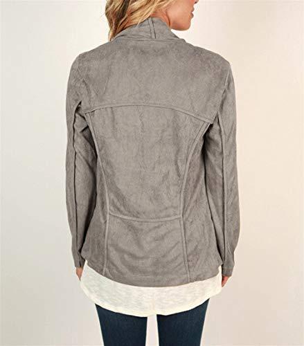 Color suelta larga Gray tamaño manga rebeca Invierno M Primavera abrigo ZFFde de abierta irregular primavera Mujer Chaqueta pBCOnqR