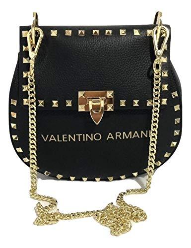 VALENTINO ARMANI Italian Fashion Designer. Luxury Brand. Shoulder Crossbody Calf Leather Handbag ()