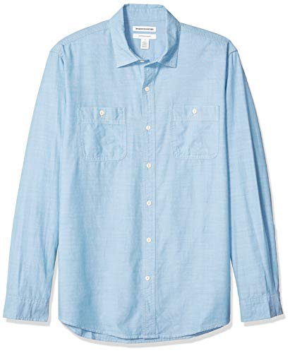 Amazon Essentials Men's Standard Regular-Fit Long-Sleeve Chambray Shirt, Light Blue, Medium