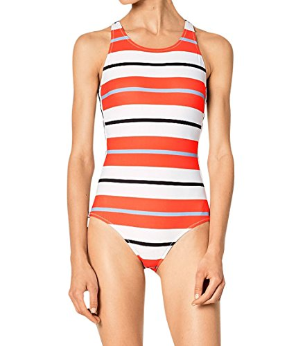 Striped High Neck   Figure Flattering   One Piece Swimsuit   Active   Modern  Small  Poppy Red