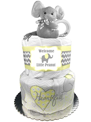 Elephant Diaper Cake - Gender Neutral Baby Shower Gift - Yellow and Gray -