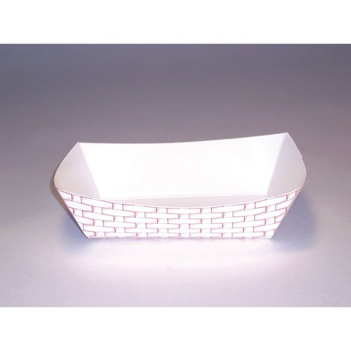Paper Food Trays Case - Boardwalk 30LAG040 6 oz Red Weave Paper Food Tray (Case of 1,000)