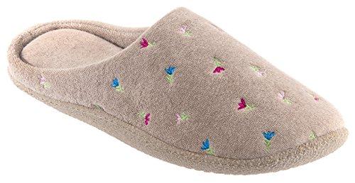 Pantofole In Pelle Di Peluche Con Motivo Floreale, In Spugna Di Peluche