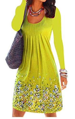 Swing Long Size Yellow Dress Midi Womens Plus Printed Domple Sleeve Floral Loose Pleated qAfA0U