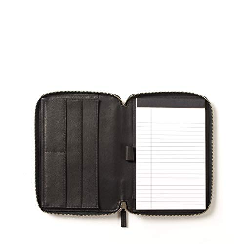 Leatherology Junior Zippered Portfolio with Pen Loop - Full Grain Leather - Black Onyx (black)