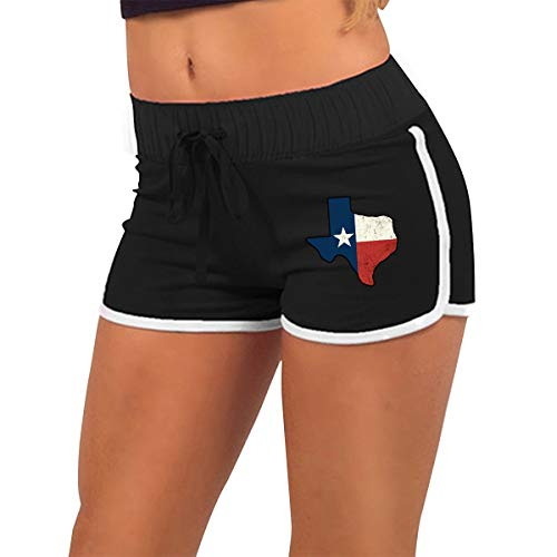 Woman Vintage Texas Flag Exercise Workout Hot Pants Pants with Athletic Elastic Waist Black ()