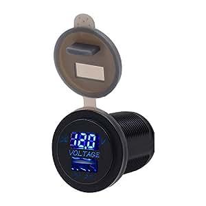 TurnRaise Impermeable LED 12-24V Coche Moto Marina RV Cigarrillo Encendedor toma USB Cargador Pantalla de Voltaje (Azul)