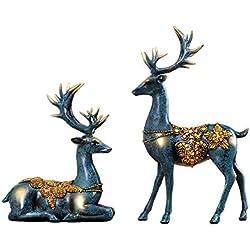 RUIHAI Christmas Reindeer Figurine Set of 2 Deer Sculptures office Home Décors Reindeer Statues (blue)