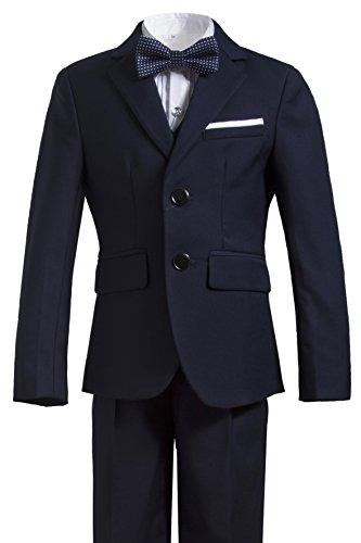 Gele Boys 5 Pieces Formal Suits,Slim Fit Tuxedo Set (4T, Navy)