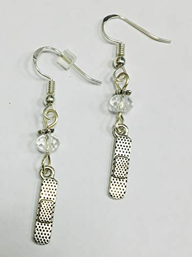 Bandaid Charm Earrings, medical nurse doctor, accented with clear faceted crystal accent bead, on sterling silver earwires