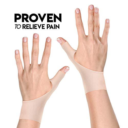 Wrist and Thumb Stabilizer Support Brace | 2 Premium Gel Fingerless Compression Gloves for Right and Left Hand (L to XL, Nude)