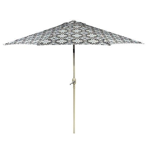 Nantucket 9' Black/White Medallion Crank/Tilt Market Umbrella ()