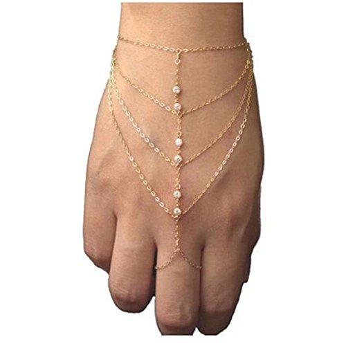 Meily Womens Summer Bohemian Link Ring Tassel Bracelet Bangle Finger Wrist Chain