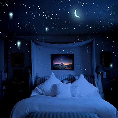 Iulove 3D Stars Glow in The Dark Luminous Fluorescent Wall Stickers Kids Bedroom