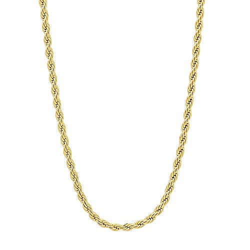 2.4mm 14k Gold Plated French Rope Chain Necklace, 20