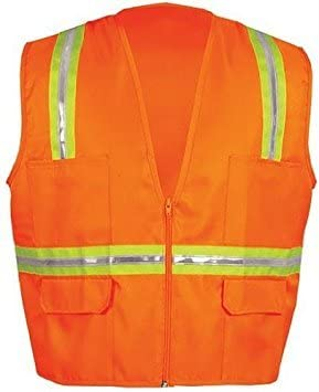 2X-Large Lime//White Trim OK-1 964 Zipper Style Orange Vest