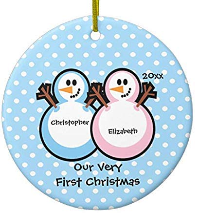 Cheyan Snowmen Twins Baby's First Christmas Xmas Trees Home Decorated Ceramic Ornaments Porcelain Ornament Personalize Souvenir