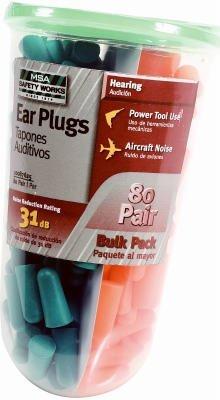80 Pairs Foam Ear Plugs by MSA Safety Works