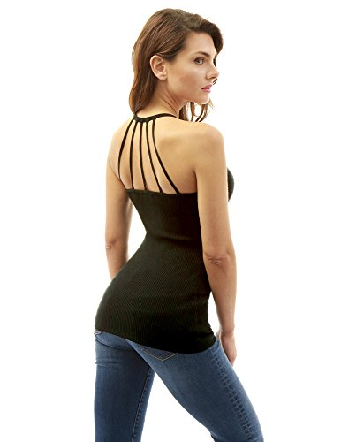 PattyBoutik Women's Strappy Detail Back Ribbed Knit Top