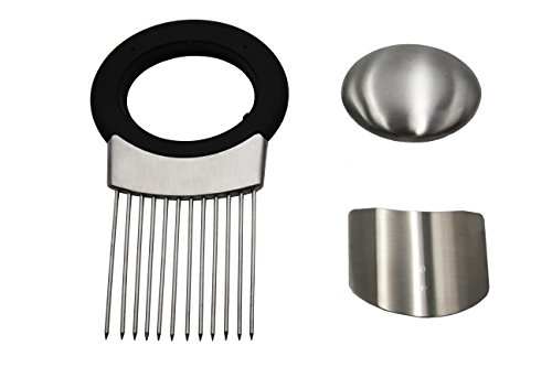 Stainless Steel Onion Holder & Slicer By IDEAMAZE- Ergonomic, Convenient Vegetable Slicing Guide For Onion, Potatoes, Tomatoes, Cucumbers - Protects Your Hands During Slicing & Keeps Away Food Odour (Stainless Steel Salad Slicer compare prices)