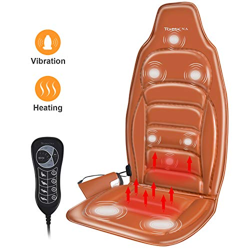 Car Massage Seat Cushion Electric Back Massager with Vibration and Heat - Massage Seat Chair with 8-Motor 5-Auto Program 4-Mode 3-Speed Neck Shoulder Back Buttocks Fatigue Relief Home Office Car Use