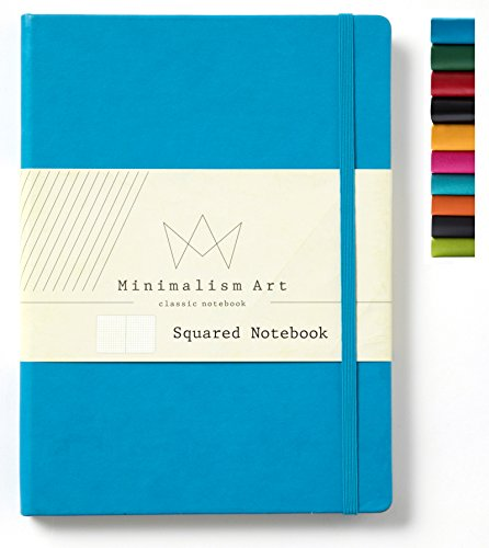 Minimalism Art | Classic Notebook Journal, Size: 8.3 X 11.4, A4, Blue, Squared Grid Page, 192 Pages, Hard Cover/Fine PU Leather, Inner Pocket, Premium Thick Paper-100gsm | Designed in San Francisco
