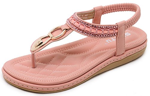 Mädchen Frauen Stil Elastic Damen Flache T Flache Hausschuhe Strap Metall Schuhe Sandalen Pink Flip aus Perlen und Vocni böhmischen Sommer Böhmen Schuhe Flops Sandalen mit für Sandalen Clip Toe Strand Thongs xHUpwC
