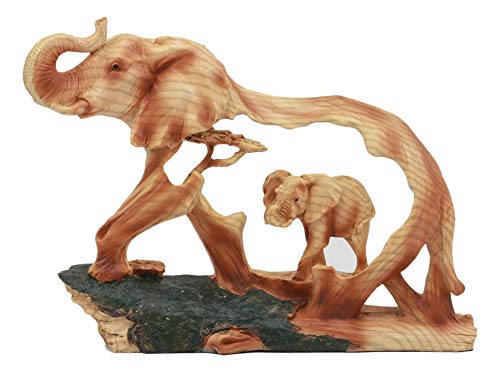 (Ebros Elephant and Baby Walking in The Jungle Statue 9