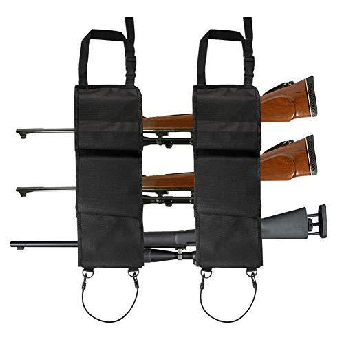 Aokin Car Seat Back Gun Rack Hunting Gun Sling Shotgun Rifle Gun Holsters Pistols Organizer with Pockets, Black