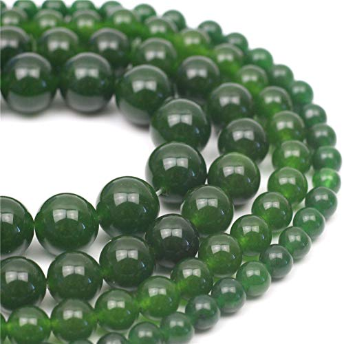 Oameusa Natural Round 10mm Olive Green Chalcedony Agate Beads Gemstone Loose Beads Agate Beads for Jewelry Making 15