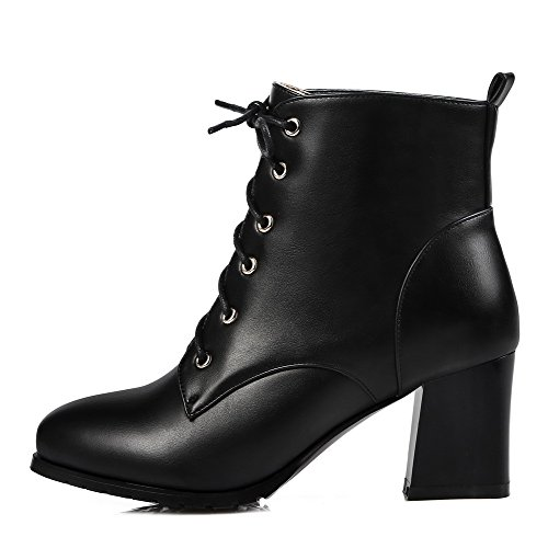 Women's Strap Blacka3 Round Ankle High WeenFashion with Chunky Boots PU Toe Lace Heels Closure Platform up Zipper Yd5wnaq