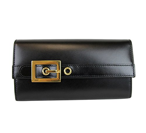 Gucci Wallets Continental Wallet (Gucci Women's Black Leather Buckle Continental Wallet 324233 1000)