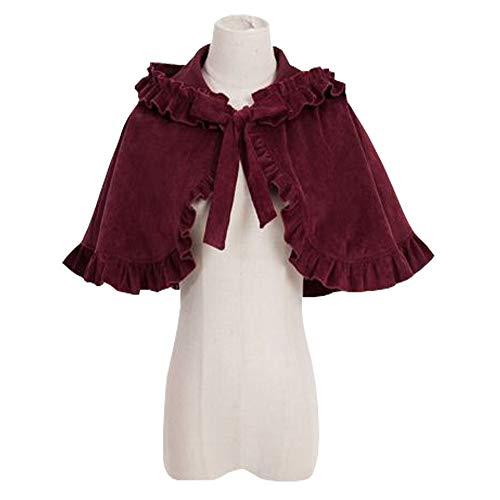 Lolita Coat - Lady Girls Lolita Ruffles Cloak Coat Gothic Vintage Japanese Cape Hooded Jacket Burgundy