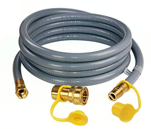 DOZYANT 12 Feet 1/2 inch ID Natural Gas Grill Hose with Quick Connect Fittings Assembly for Low Pressure Appliance -3/8 Female to 1/2 Male Adapter for Outdoor NG/Propane Appliance - CSA Certified