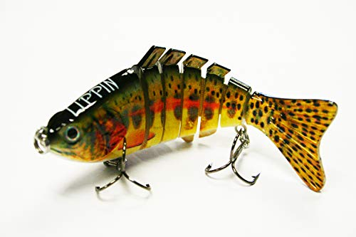 Brown Lures - Lippin Bass Fishing Lures 7 Segment Realistic Top Water Swimbait Hard Crankbaits (brown/red)